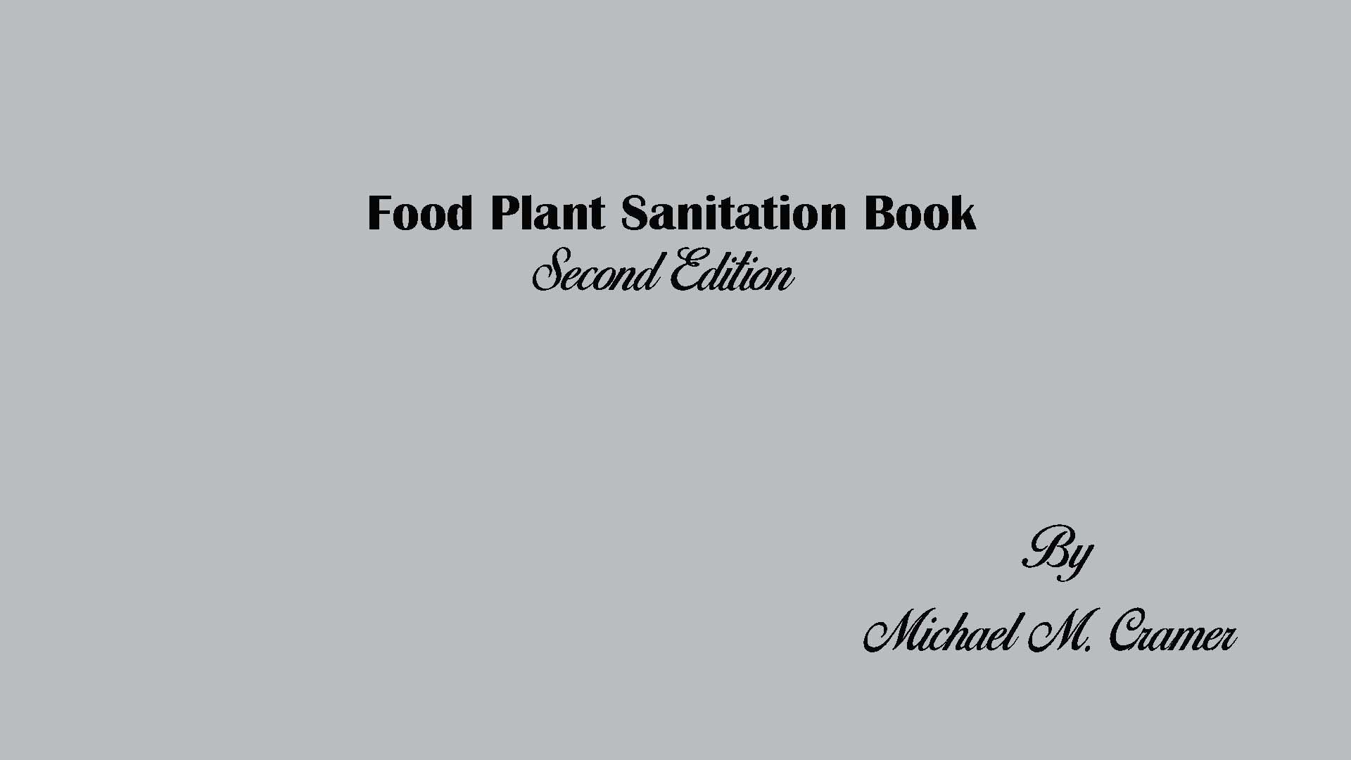 Food Plant Sanitation book